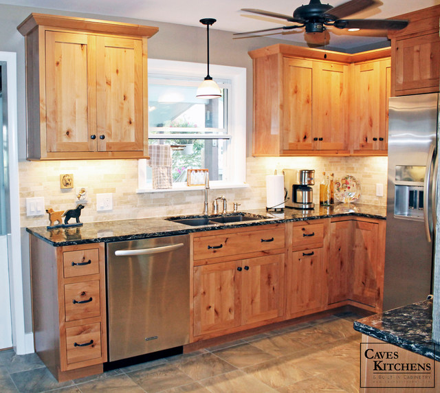 Country Kitchen With Knotty Pine Cabinets