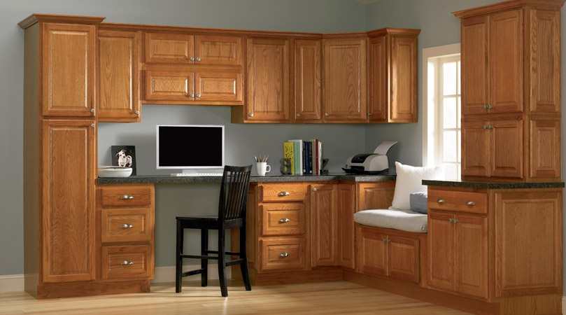Oak cabinet inspirations reeds custom cabinets for Grey kitchen cabinets with red walls